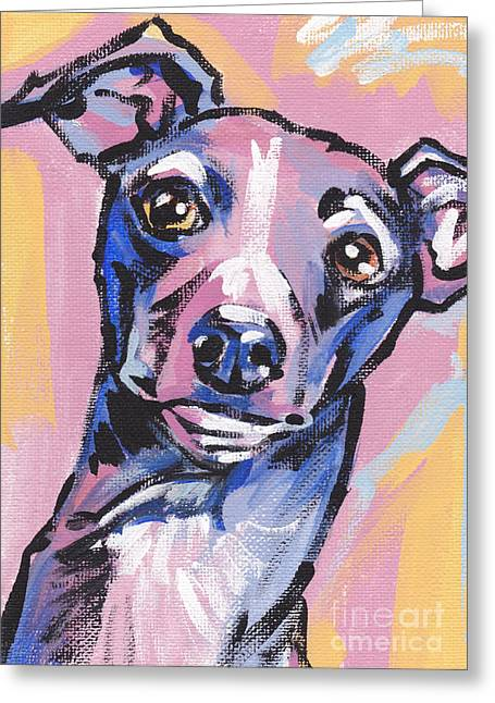 Greyhound Greeting Cards - Gettin Iggy Wit It Greeting Card by Lea