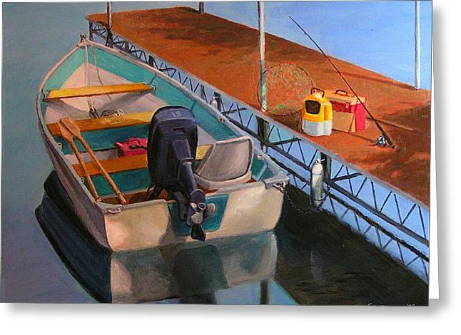 Boats At Dock Greeting Cards - Gettin Ready Greeting Card by Bob Newman