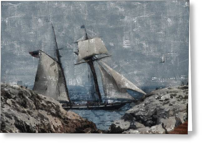 Tall Ship Greeting Cards - Getting close to the rocks Greeting Card by Jeff Folger