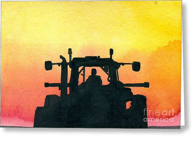 Harvest Time Paintings Greeting Cards - Getting it Done Greeting Card by R Kyllo