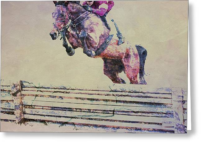 Race Horse Greeting Cards - Getting Over It Greeting Card by Larry Helms