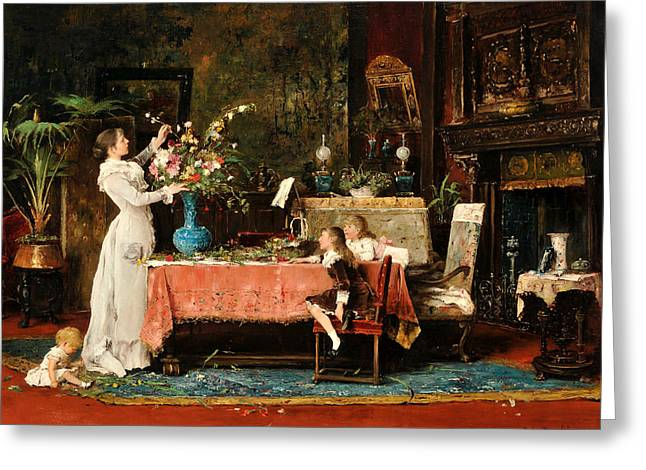 Getting Ready For Daddy's Birthday Greeting Card by Mihaly Munkacsy
