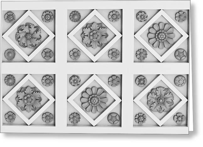 Best Sellers -  - Geometric Effect Greeting Cards - Getty Villa Coffered Peristyle Ceiling Greeting Card by Teresa Mucha