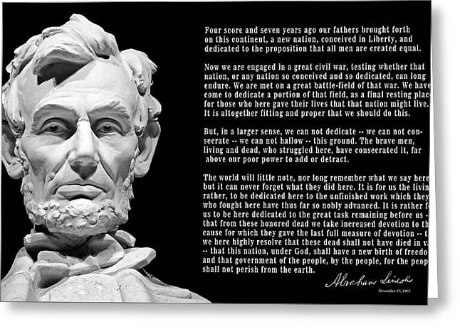 Gettysburg Address  1863 Greeting Card by Daniel Hagerman