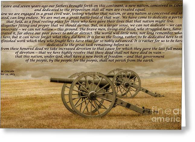 Art Book Greeting Cards - Gettysburg Address Cannon Greeting Card by Randy Steele