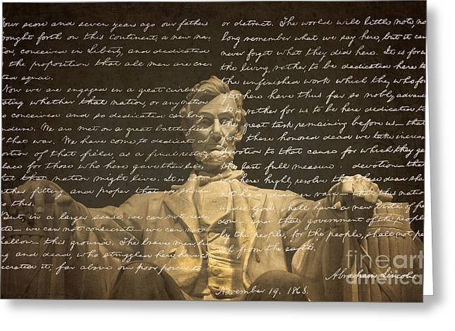 Handwritten Greeting Cards - Gettysburg Address Greeting Card by Diane Diederich