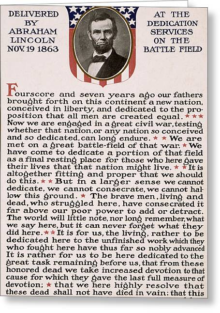 Gettysburg Address Greeting Card by International  Images