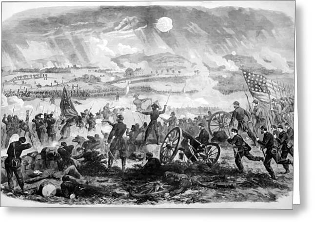 Battle Digital Greeting Cards - Gettysburg Battle Scene Greeting Card by War Is Hell Store