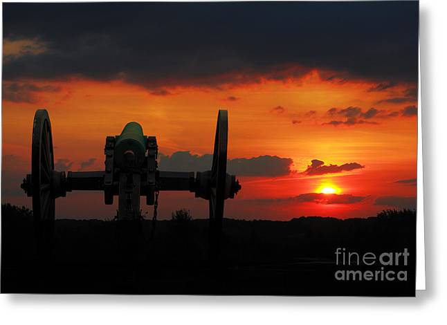 Cemetery Ridge Greeting Cards - Gettysburg Battlefield Cannon Sunset Greeting Card by Randy Steele