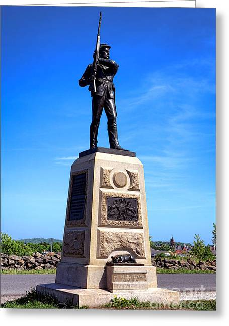 Dedicated Greeting Cards - Gettysburg National Park 11th Pennsylvania Infantry Memorial Greeting Card by Olivier Le Queinec