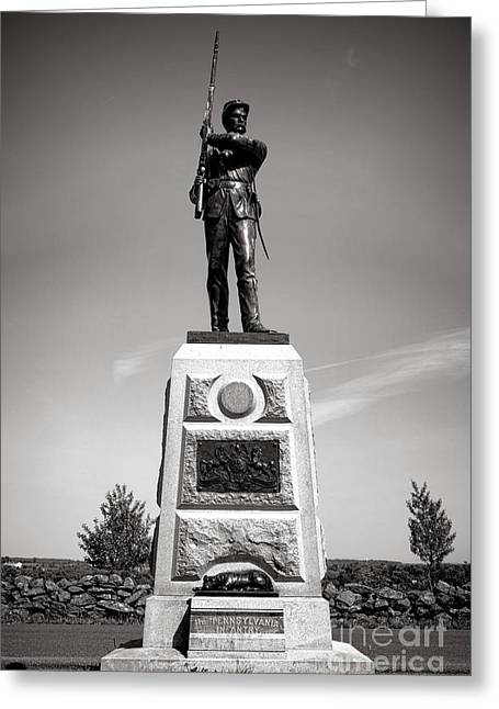 Confederate Monument Greeting Cards - Gettysburg National Park 11th Pennsylvania Infantry Monument Greeting Card by Olivier Le Queinec