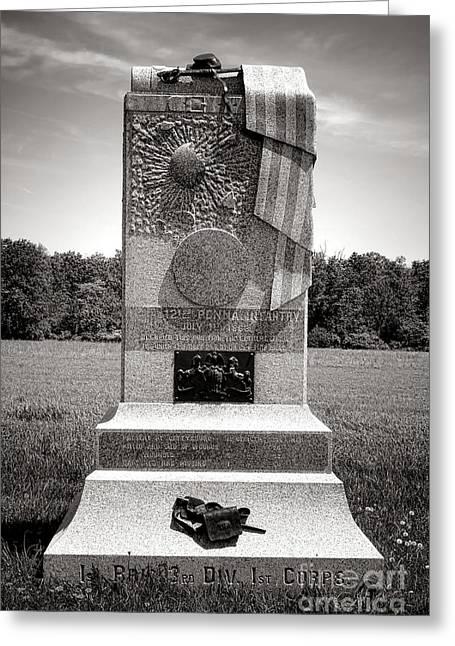 Confederate Monument Greeting Cards - Gettysburg National Park 121st Pennsylvania Infantry Monument Greeting Card by Olivier Le Queinec