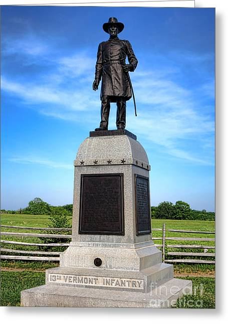 Gettysburg National Park 13th Vermont Infantry Memorial Greeting Card by Olivier Le Queinec