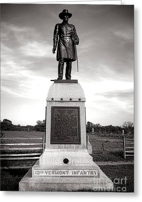 Gettysburg National Park 13th Vermont Infantry Monument Greeting Card by Olivier Le Queinec