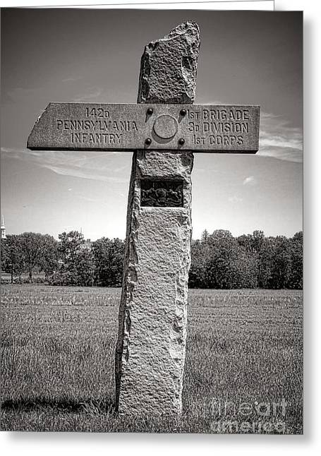 Confederate Monument Greeting Cards - Gettysburg National Park 142nd Pennsylvania Infantry Monument Greeting Card by Olivier Le Queinec