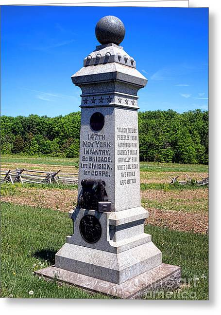 2nd Brigade Greeting Cards - Gettysburg National Park 147th New York Infantry Memorial Greeting Card by Olivier Le Queinec