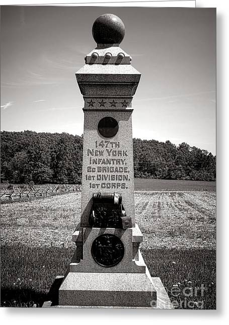 Gettysburg National Park 147th New York Infantry Monument Greeting Card by Olivier Le Queinec
