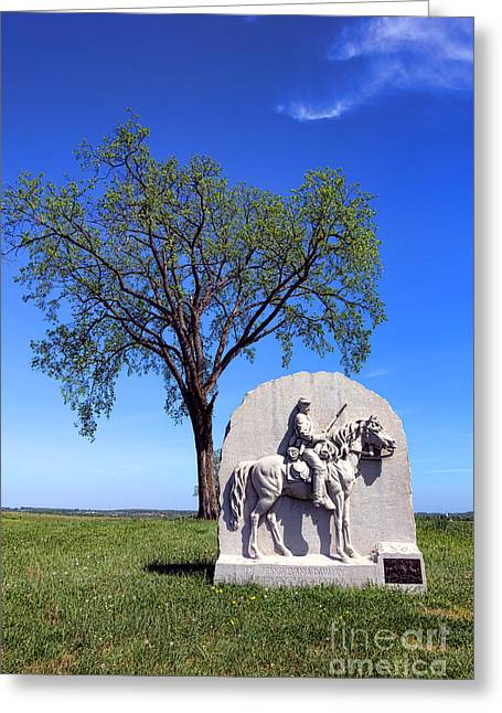 Seventeenth Greeting Cards - Gettysburg National Park 17th Pennsylvania Cavalry Memorial Greeting Card by Olivier Le Queinec
