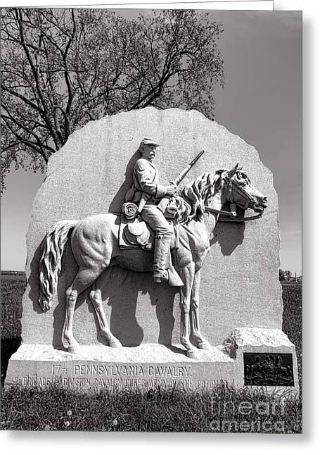 Seventeenth Greeting Cards - Gettysburg National Park 17th Pennsylvania Cavalry Monument Greeting Card by Olivier Le Queinec