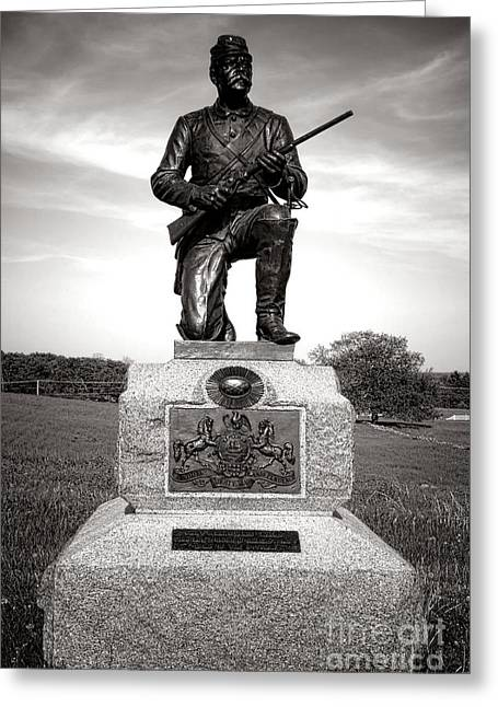 2nd Brigade Greeting Cards - Gettysburg National Park 1st Pennsylvania Cavalry Monument Greeting Card by Olivier Le Queinec