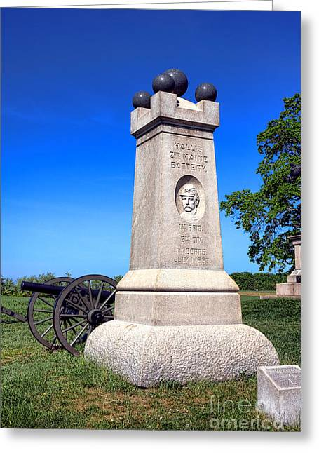 Dedicated Greeting Cards - Gettysburg National Park 2nd Maine Battery Memorial Greeting Card by Olivier Le Queinec