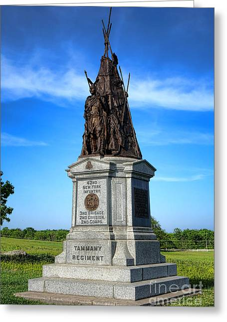 Dedicated Greeting Cards - Gettysburg National Park 42nd New York Infantry Memorial Greeting Card by Olivier Le Queinec