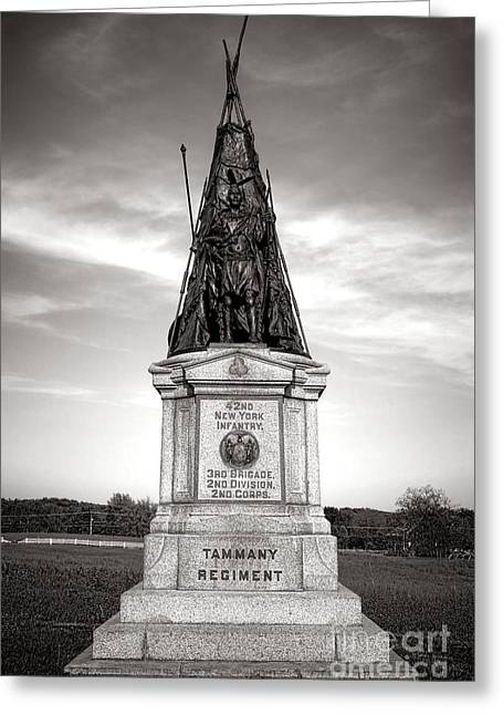 Dedicated Greeting Cards - Gettysburg National Park 42nd New York Infantry Monument Greeting Card by Olivier Le Queinec