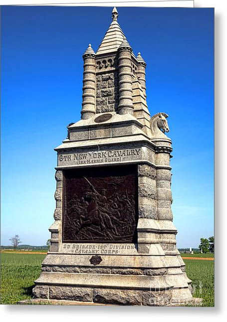 Dedicated Greeting Cards - Gettysburg National Park 6th New York Cavalry Memorial Greeting Card by Olivier Le Queinec