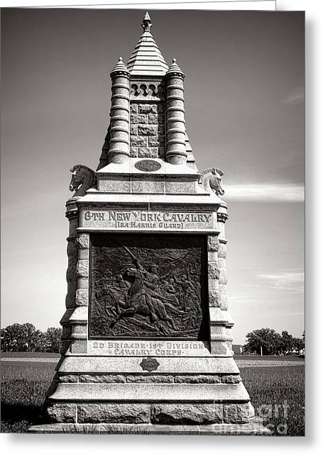 Dedicated Greeting Cards - Gettysburg National Park 6th New York Cavalry Monument Greeting Card by Olivier Le Queinec