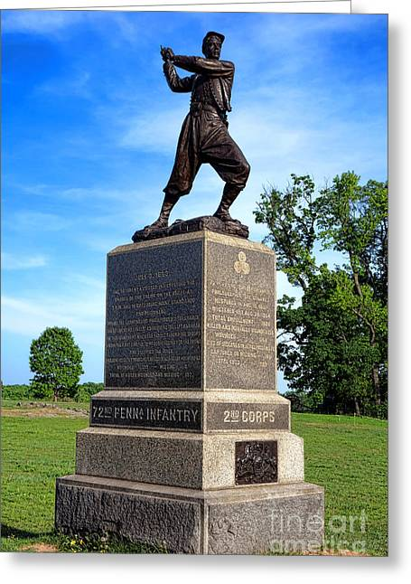 Gettysburg National Park 72nd Pennsylvania Infantry Memorial Greeting Card by Olivier Le Queinec