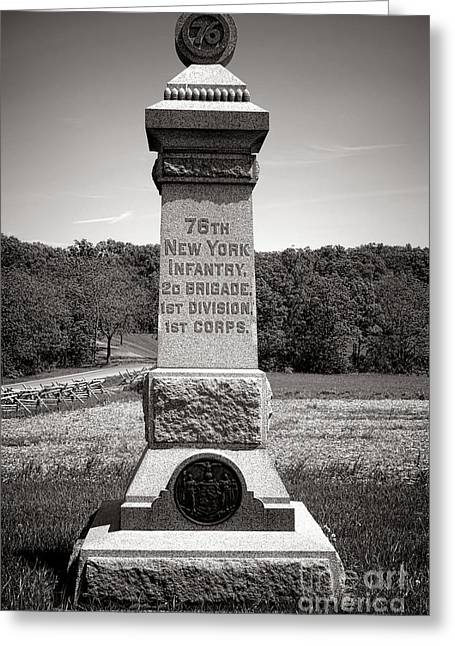 2nd Brigade Greeting Cards - Gettysburg National Park 76th New York Infantry Monument Greeting Card by Olivier Le Queinec