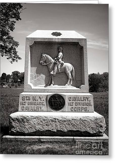 Confederate Monument Greeting Cards - Gettysburg National Park 8th New York Cavalry Monument Greeting Card by Olivier Le Queinec