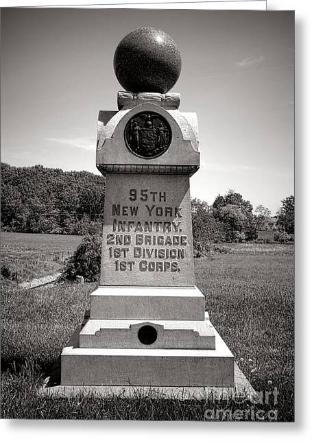 Confederate Monument Greeting Cards - Gettysburg National Park 95th New York Infantry Monument Greeting Card by Olivier Le Queinec