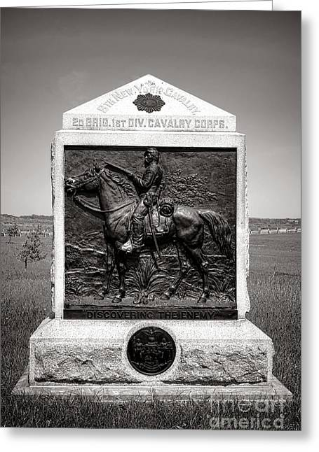 Dedicated Greeting Cards - Gettysburg National Park 9th New York Cavalry Monument Greeting Card by Olivier Le Queinec