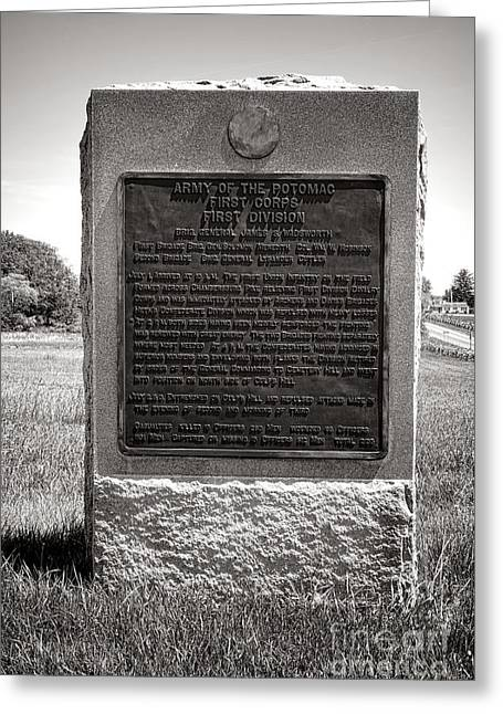 Dedicated Greeting Cards - Gettysburg National Park Army of the Potomac First Division Monument Greeting Card by Olivier Le Queinec