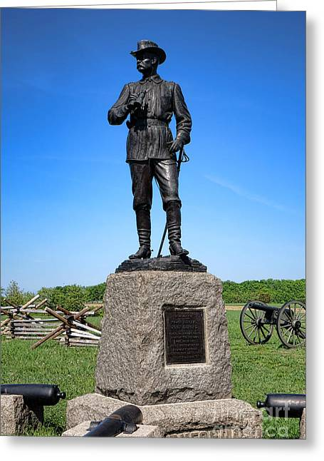 Confederate Monument Greeting Cards - Gettysburg National Park Major General John Buford Memorial Greeting Card by Olivier Le Queinec