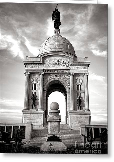 Pa Greeting Cards - Gettysburg National Park Pennsylvania State Memorial Monument Greeting Card by Olivier Le Queinec