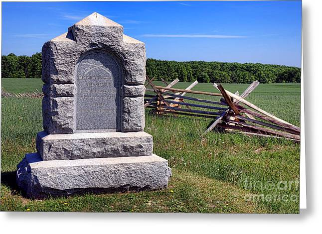 Confederate Monument Greeting Cards - Gettysburg National Park Third West Virginia Cavalry Memorial Greeting Card by Olivier Le Queinec