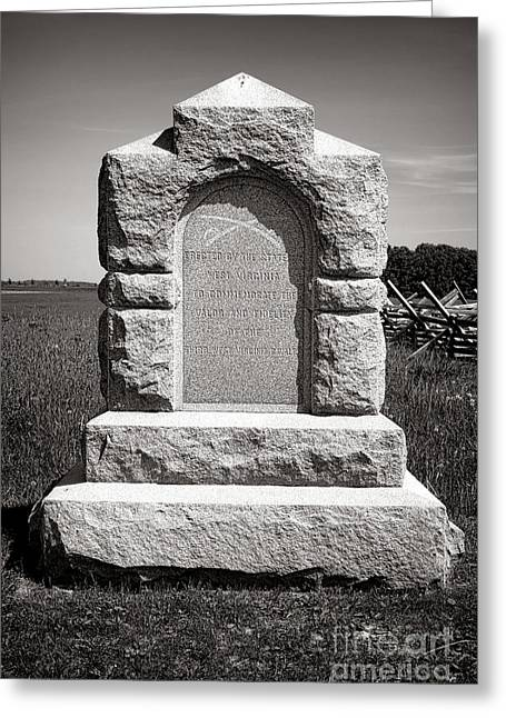 Dedicated Greeting Cards - Gettysburg National Park Third West Virginia Cavalry Monument Greeting Card by Olivier Le Queinec