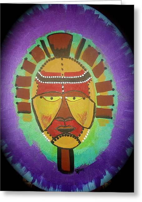 African Inspired Art Greeting Cards - Ghana Mask Greeting Card by Sheila J Hall