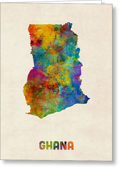 Ghana Watercolor Map Greeting Card by Michael Tompsett