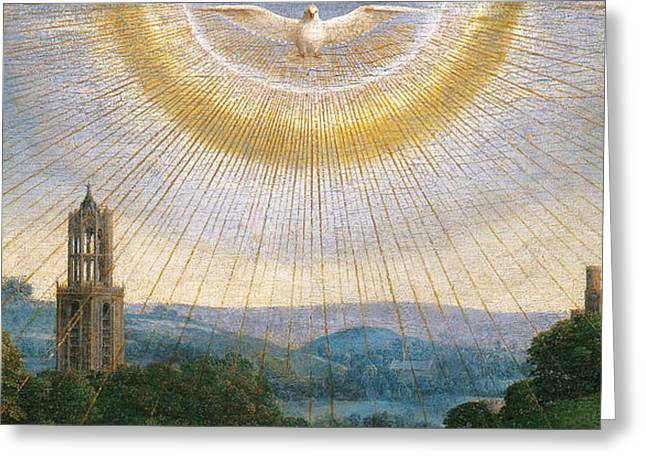 Radiates Greeting Cards - Ghent Altarpiece detail of the Holy Spirit Greeting Card by Van Eyck