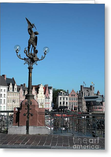 Ghent St Michael's Bridge With Castle Greeting Card by Carol Groenen