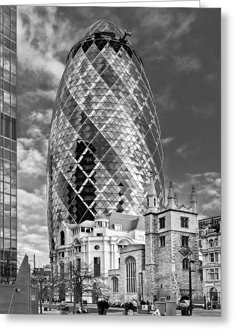 Gherkin And St Andrew's Black And White Greeting Card by Gary Eason