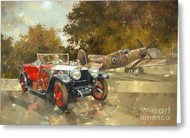 Vintage Cars Greeting Cards - Ghost and Spitfire  Greeting Card by Peter Miller