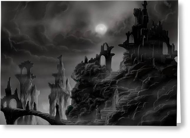 Recently Sold -  - Stepping Stones Greeting Cards - Ghost Castle Greeting Card by James Christopher Hill
