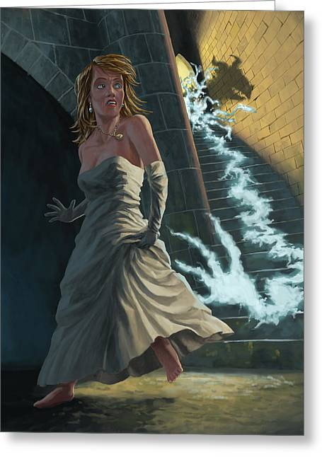 Castle Horror Illustration Greeting Cards - Ghost Chasing Princess In Dark Dungeon Greeting Card by Martin Davey
