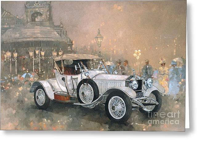 Vintage Cars Greeting Cards - Ghost in Scarborough  Greeting Card by Peter Miller