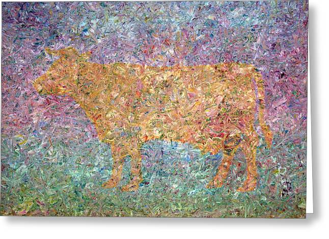 Abstract Expressionist Paintings Greeting Cards - Ghost of a Cow Greeting Card by James W Johnson