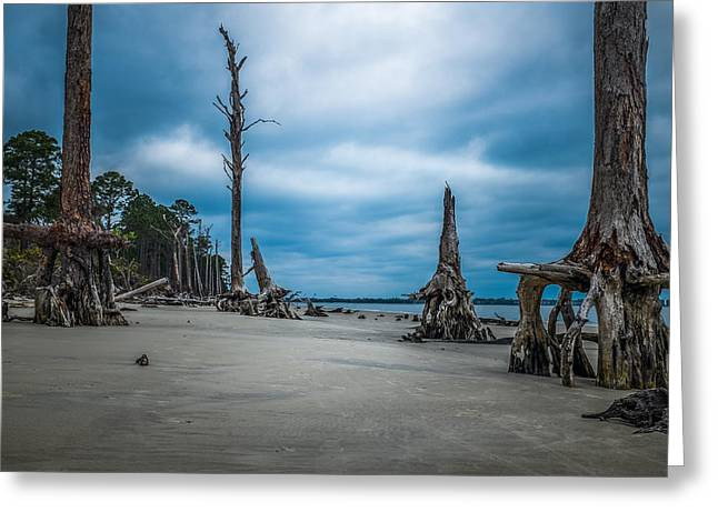 Ghost Of Giants Above The Sand Greeting Card by Chris Bordeleau